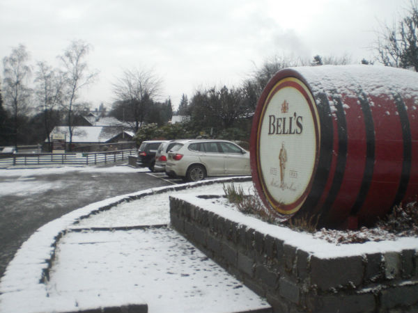 Bells, Blair Atholl Distillery, a winter scene