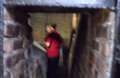 It looks like ghostly goings on. Liz surrounded by smoke inside Glengarioch Distillery