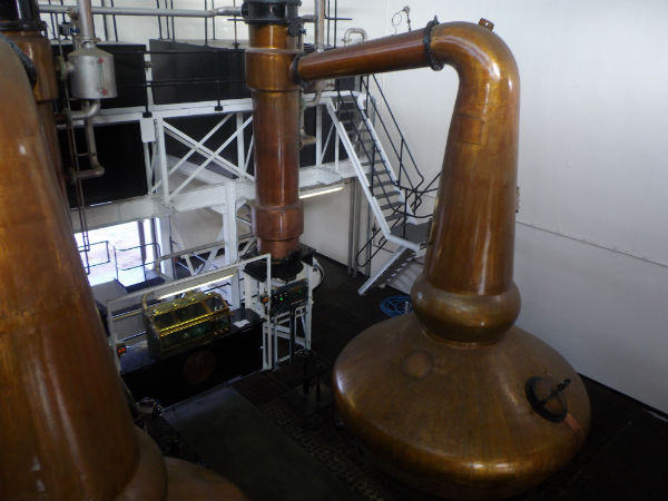The stills inside Glenglassaugh Distillery