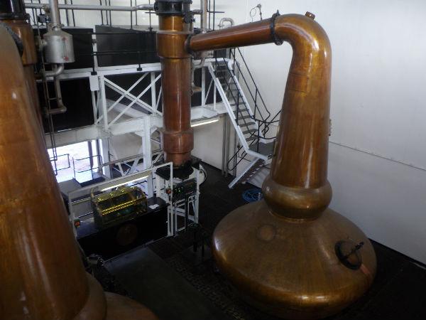 The stills inside Glenglassaugh Distillery