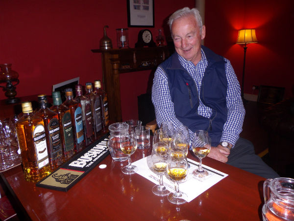 Happy Jack at Bushmills distillery with his Irish Whiskies