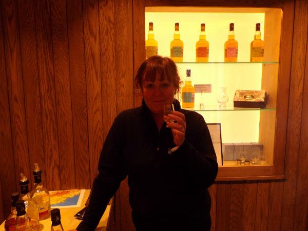 Liz in reception of Kingbarns Distillery, Fife
