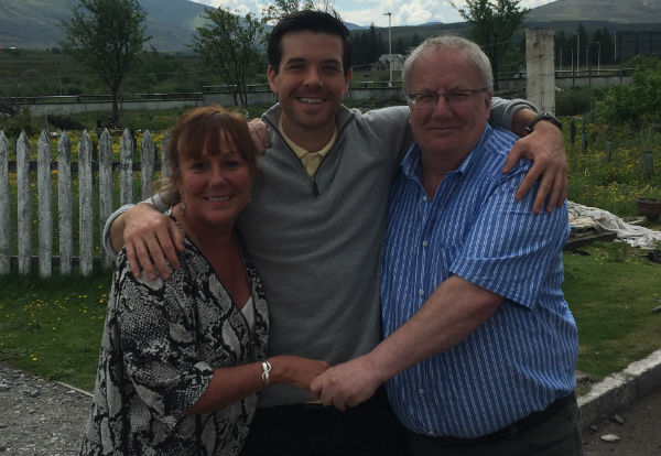 Liz Paul and Matt at Dalwhinnie distillery Scotland