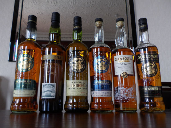 A selection of whisky bottles from Loch Lomond Distillery
