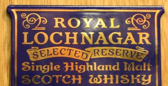 the sign for Royal Lochnagar Distillery