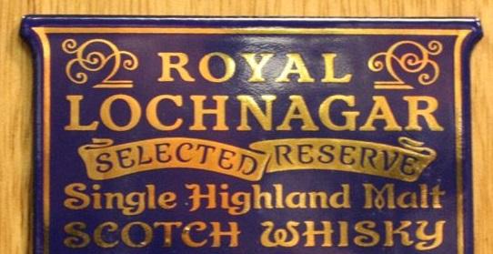 the sign for Royal Lochnagar Distillery
