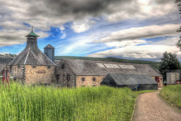 A photo outside Balvenie Distillery near Dufftown, Speyside
