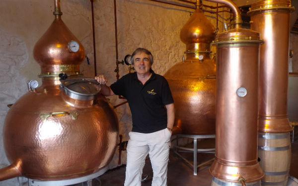 Tony, the owner of Strathearn Distillery with his wee stills