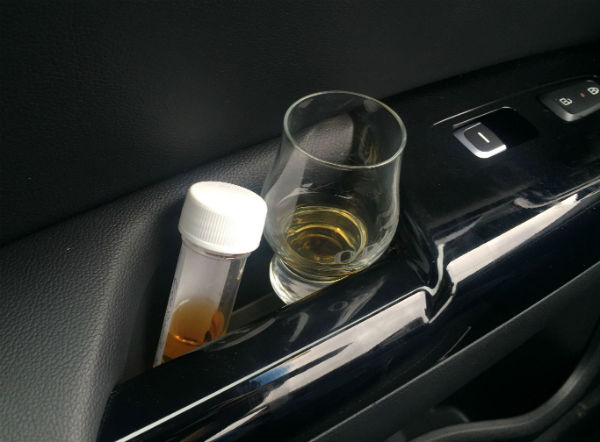 a sample dram in the car for Anders tour of Scotland