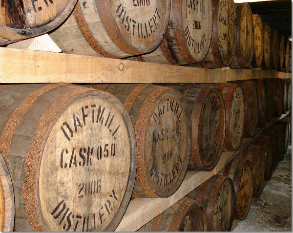 casks maturing inside Daftmill Distillery