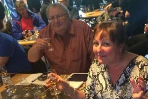 Paul and Liz tasting the amber nectar