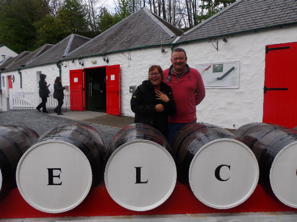 Liz and Andrew owner AT EDRADOUR DISTILLERY