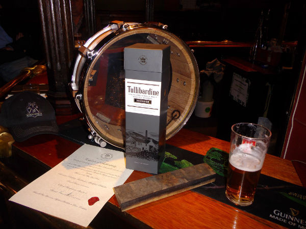 A drum made from staves inside Tullibardine Distillery