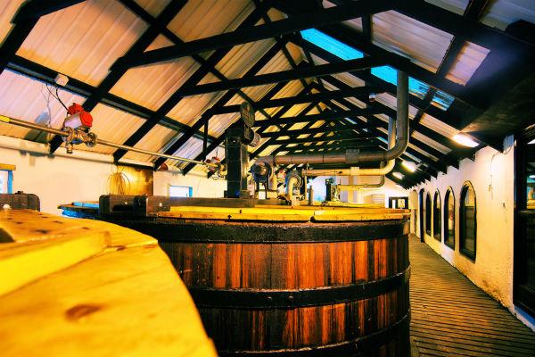 The washbacks at the Bowmore Distillery, Islay