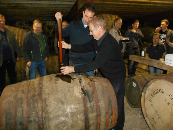 Sampling drams straight from the cask at Glendronach Distillery