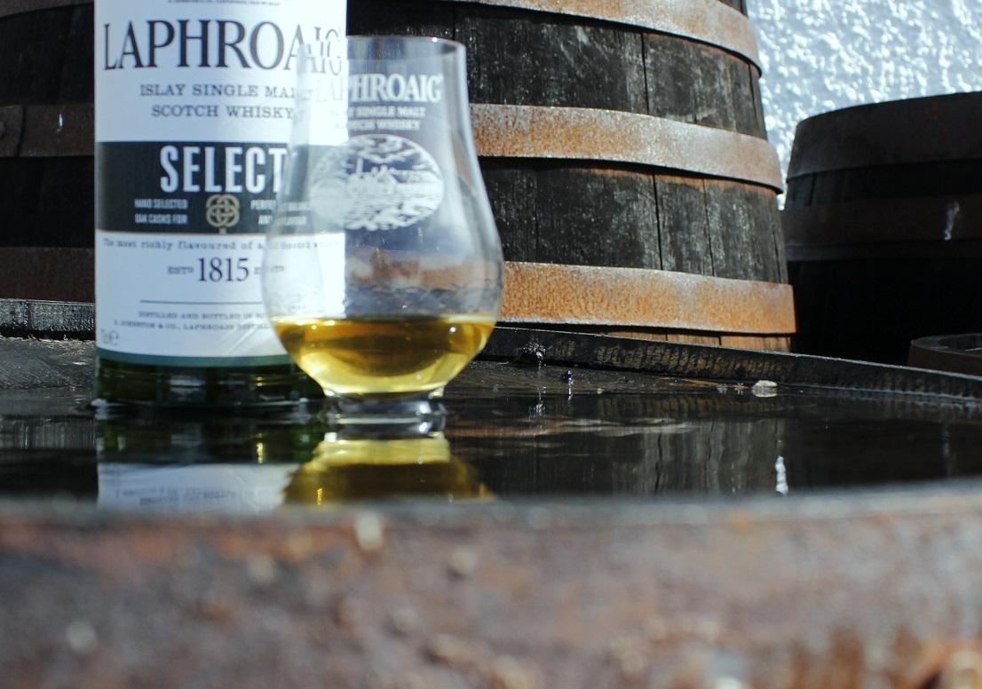 The whisky casks outside Laphroig Distillery, Islay