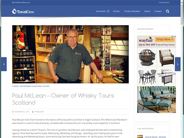 TravelDew Article on Whisky Tours by Paul Mclean